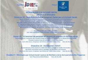 SETMANA PER A LA INCLUSIÓ SOCIAL Del 14 al 17 d'Octubre